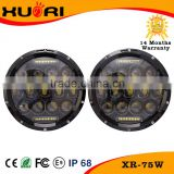 High power 75W 7 inch LED round light jeep wrangler led work light led driving lights round 7 inch for off road