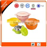 High Quality Double Wall 4pcs Stainless Steel Insulation Pot/Bowl Set with Rotating Lids