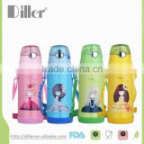 double wall stainless steel vacuum flask kids drinking children water bottle with silicone straw