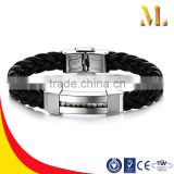 NSSL1701 Diamante leather hallmark stainless steel bracelets
