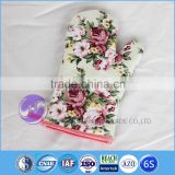 Cotton Canvas Flowers Printed Cooking Kitchen Slubbed fabric oven mitt
