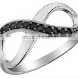 Jewelry Set Infinity rings with Black CZ Accent in stainless steel jewelry