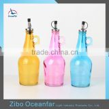 Eco-friendly Cooking Oil Glass Bottle Fruit Vinegar Decorative Bottle Colored Olive Oil Bottles Wholesale