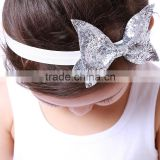 cute vintage baby girl newborn rhinestone silver satin flower hairbands baby girls hair bows fashion headbands