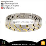 Gold plated silver stainless steel 3000 gauss magnetic germanium magnetic energy magnet bracelet