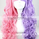 Half and half color Lolita Long Curly Pink Mixed Purple Cosplay Hair Wig Two Ponytail N416