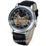 top quality sewor man skeleton automatic self wind watch leather mechanical watches for men