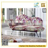 Fashion design flower fabric lounge sofa bed for living room furniture