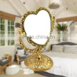 double sides heart-shaped magniying cosmetic mirror high quality free standing desktop mirror