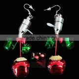 Red and green led metal jingle bell pedant christmas party jewelry flashing light earrings for girls