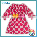 New Autumn baby girls dress long sleeve floral cotton dress with flower belt children party dress