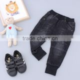 hot sale boy and girl winter pant thick model fake pocket in knee black color denim material kids pants