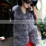2015 New fashion real natural fur vests women ostrich feather fur vest