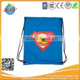 Nylon super man logo drawstring sport backpack
