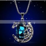 Classic Rose Gold Plated Austrian Crystal Green Blue Erstwhile Memory Retro Princess Style Lady Pendant Necklace Wholesale