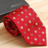 Gold Double-brushed Mens Jacquard Neckties Knit High Stitches