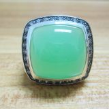 Sterling Silver Jewelry 20mm Aqua Chalcedony Moonlight Ice Ring(R-214)