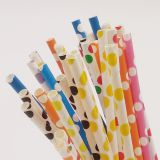 Mixed Color Polka Dot Paper Straws