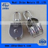 2015 New Arrival ! Top quality stainless steel AISI304/316 double wheel wire rope pulley block 25mm-100mm