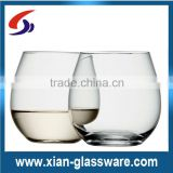 Promotional high quality clear stemless wine glasses wholesale/balloon shape stemless wine glass