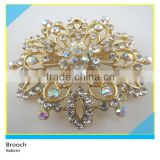 Gold Metal Flower Crystal AB Rhinestone Brooch Fancy Clear Crystal Rhinestone Brooch 6x6cm