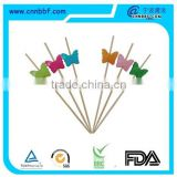 Butterfly decorate disposable bamboo sticks bamboo skewer