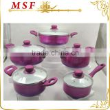 MSF-6696 Color changing painting exterior 10pcs pressing aluminum cookware set healthy ceramic coating interior