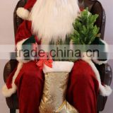 XM-A6032 48 inch High indoor christmas inflatable santa ornament with gifts and lighted tree