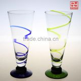 China Lead free Crystal blue and green Wrapping wire Coupe Champagne Glass