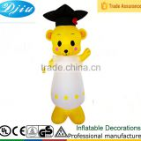 DJ-183 2015 inflatable pretty bear wear white dress LED lighted animal decoration home decoration in hot sale