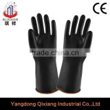 Smooth industrial acid and alkali resistant glove/black color hand work rubber industrial glove