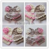 newborn baby girl crochet flower hat and diaper cover knitted newborn baby girl clothing set for photography