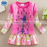 (L358) 2 colores fuchsia2-6Y Neat brand wholesale baby girl dress new style flower dress guangzhou kids clothes from China