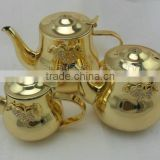 Stainless steel tea pot/tea kettle decorated with alloy flower and crystal