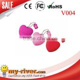 PVC red heart shape usb pen drive, beautiful heart shape usb, nice red heart usb flash memory