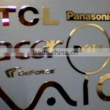 gold color electroforming metal foil sticker, electrical appliances metal logo, brand sticker