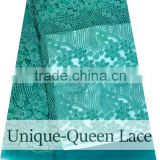 Factory price cheap bulk fabric / french net lace fabric/nigeria lace fabrics /high quality teal color french lace with beads
