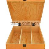 factory selling FSC unfinished pine wooden 3 pack red wine whiskey bottles gift boxes with sliding lid