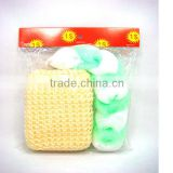 2pcs bath set/bath sponge belt&plastic soap holder/container set