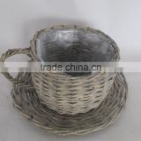 garden basket 2016 hot sale 100% handmade garden coffee cup basket weaving round white wash willow basket
