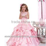 Free shipping hot!!halter pink embriodered backless ruffles pageant ball gown flower girl dress CWFaf4393