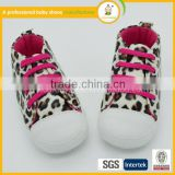 wholesale korean style fashion leopard grain with shoelaces child non-slip soft baby shoes