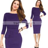 Fashion Spring Knee Length 3/4 Sleeve Pencil Dresses women formal office work
