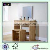 Oak Dressing Table Set With Stool and Mirror