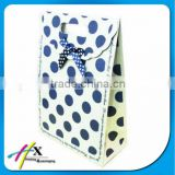 Fashion beautiful blue dotted ribbon bow gift paper bag