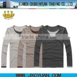 fashion heather gray men double contrast collar long sleeve t shirts