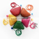 S66039A Candy Color Weaven Shell Mini Beach Bag Kid Coin Purses