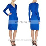 china custom fashion blue long sleeves satin jersey front midi wrap dress