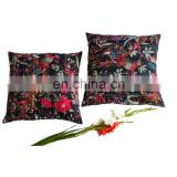 Indian Decorative Pillow Cases Set Bird Print Kantha Cotton Cushion Covers