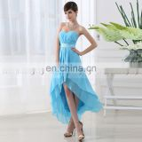 Instock Simple Chiffon Hi-Lo Sweetheart party dress Strapless Sequin Lace-up Cocktail Dress